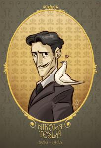 Nikola Tesla avec son pigeon.